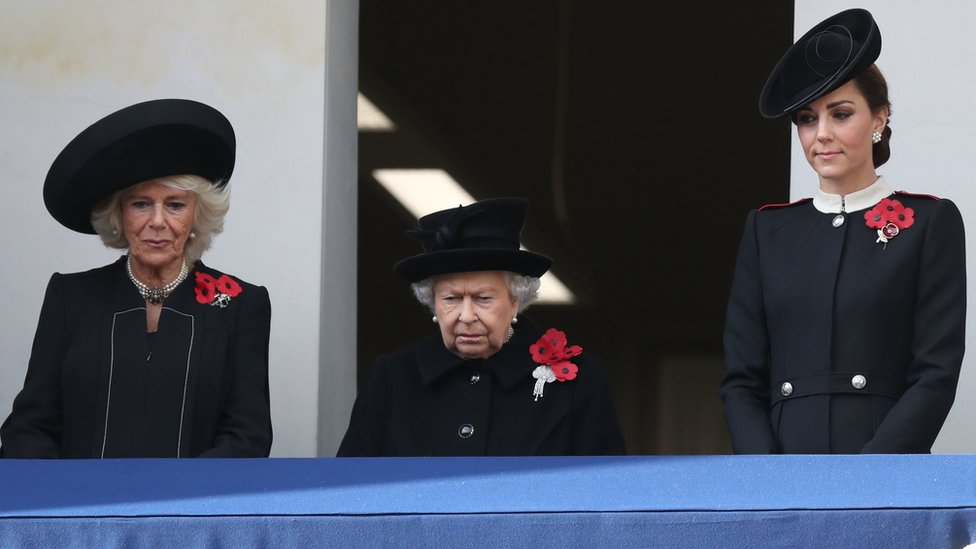 The Duchess of Cornwall, Queen Elizabeth II and the Duchess of Cambridge on a balcony during the remembrance service