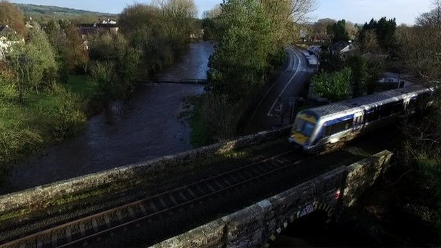 Aerial views of the flooding in Antrim, Templepatrick and Clady were captured by drone