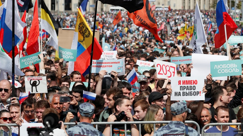 Protesters take part in the rally in Moscow