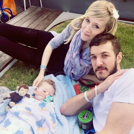 Baby Charlie Gard on rooftop of Great Ormond Street hospital with his parents Charlie Gard