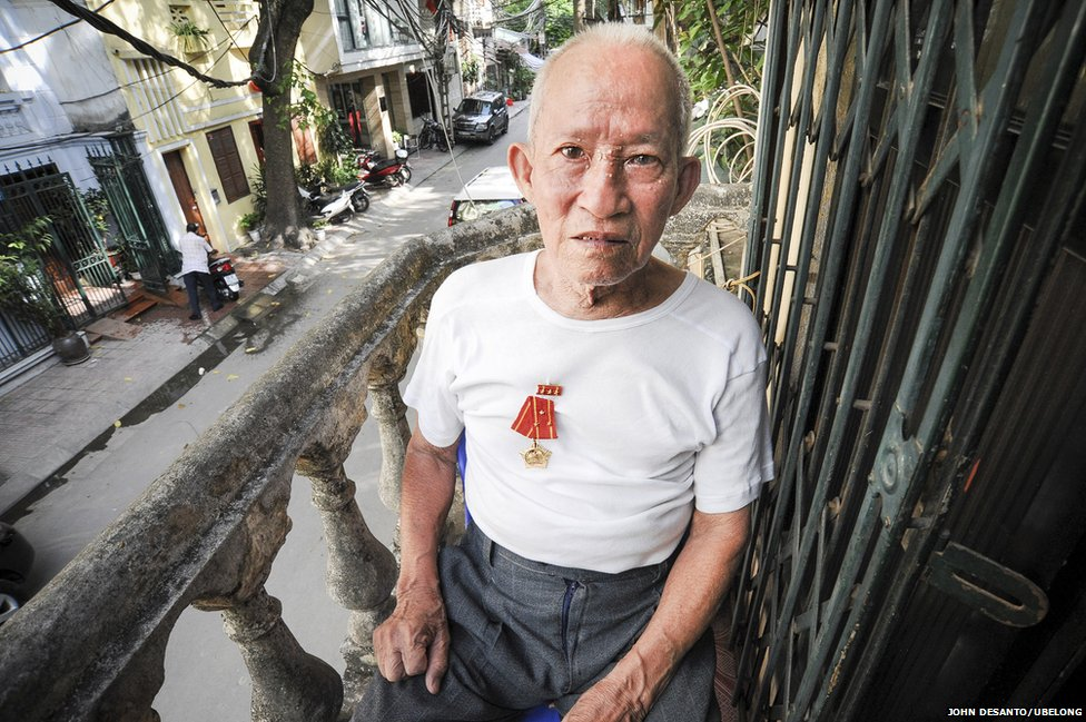 Vu Thanh Lan, 85, at his home in Hanoi
