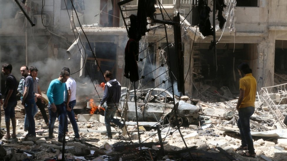 Attacks elsewhere in Aleppo on Thursday left more than 30 people dead