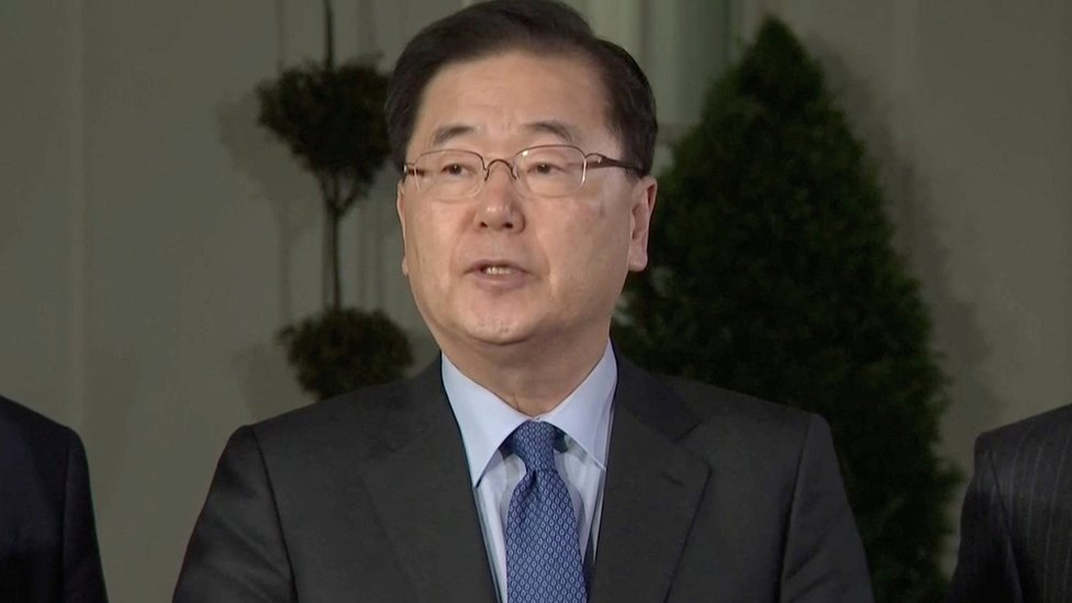 Chung Eui-yong, head of South Korean National Security Office, makes an announcement at the White House, on March 8, 2018