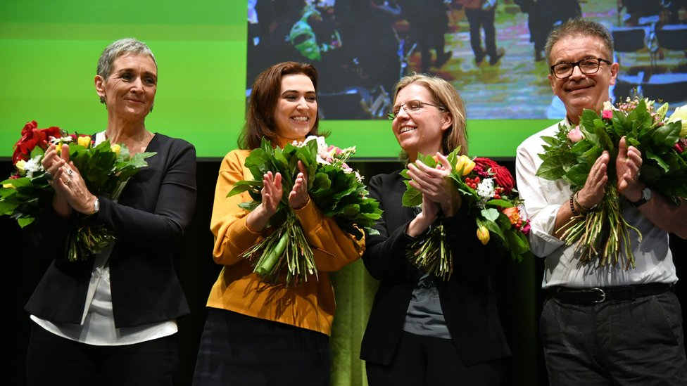 Green party MPs applaud on 4 January 2020 after the party's congress backs their coalition.