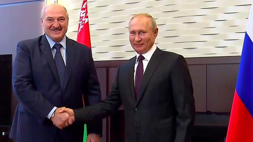 President Alexander Lukashenko and Russia's President Putin in Sochi, 14 Sep 20