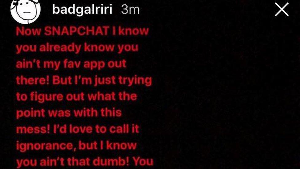 Rihanna's Instagram story