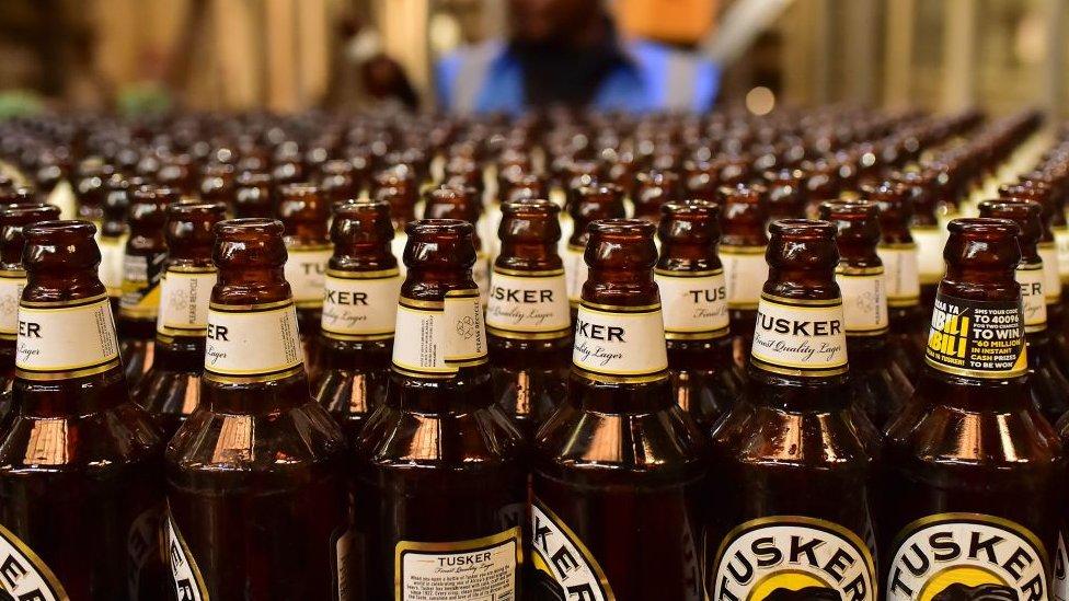 Bottles of Tusker beer