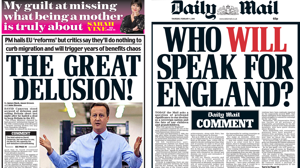 Two front pages from the Daily Mail - the headlines read: 'The great delusion' and 'Who will speak for England'