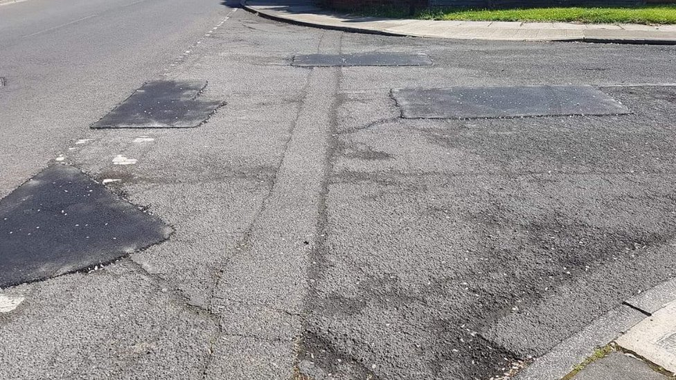 Filled in potholes