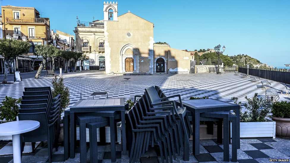 Empty tables at a closed restaurant in Sicily, after government restrictions to avoid the spread of Covid-19