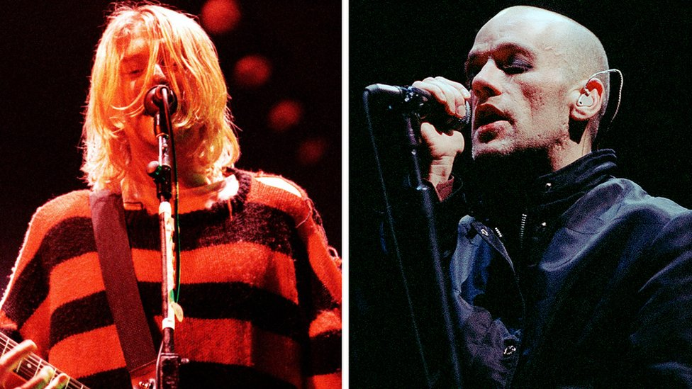 BBC News - Listen to a new, raw version of REM's 'elegy and eulogy' for Kurt Cobain