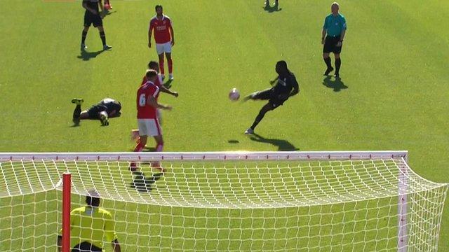 Christian Benteke scores a stunning volley against Swindon