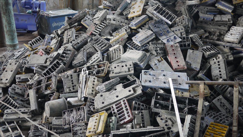 An informal recycling place for e-waste and batteries in Patna, in India's Bihar state