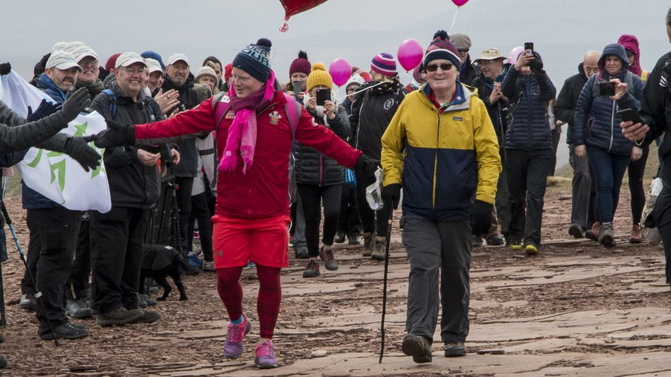 Tearful Des Lally ascends Pen y Fan for 365th time in a year