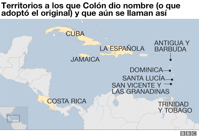 Mapa con los nombres de Colón.
