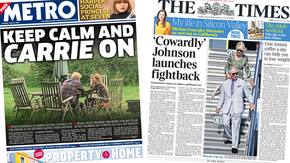 Paper review: Johnson in 'fightback' amid privacy row