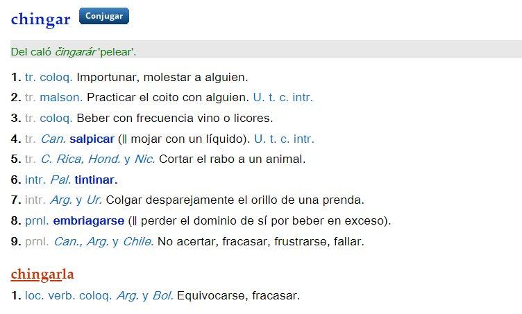 Chingar en el Diccionario de la RAE