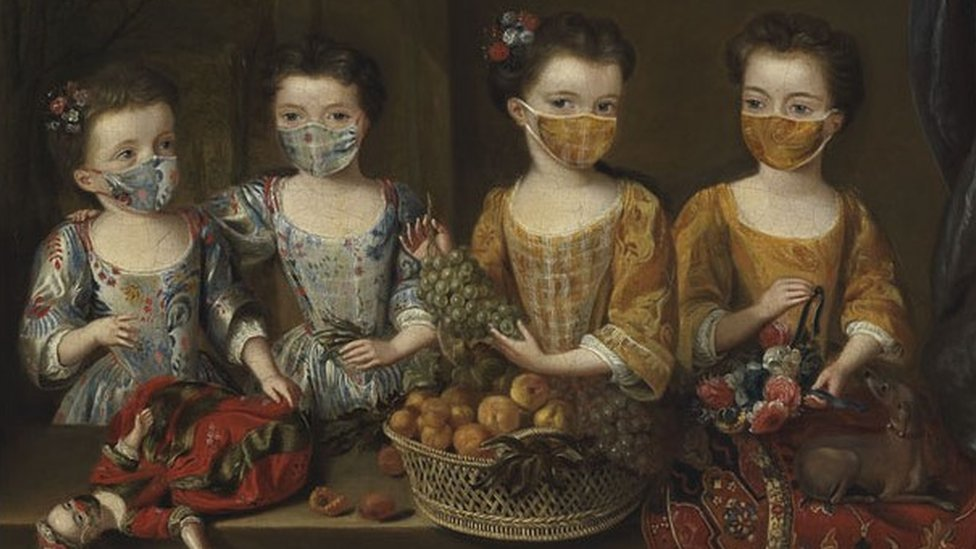 This image is inspired by the family portrait The daughters of Sir Matthew Decker, painted by Dutch artist Jan van Meyer in 1718.