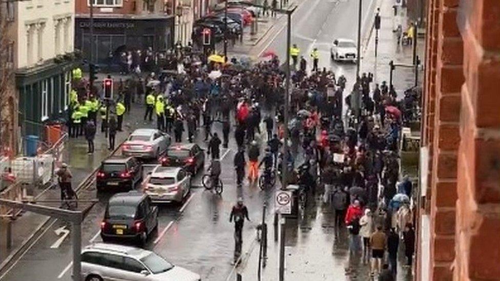 Demonstrators in Liverpool