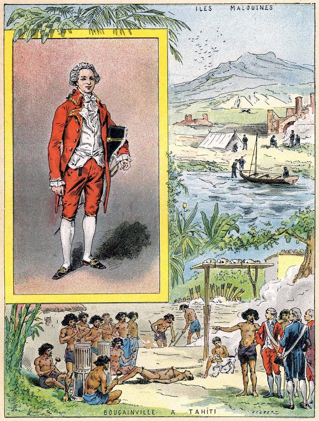 Ilustración de Louis Antoine de Bougainville en Tahití hecha por el artista Gilbert en 1898.