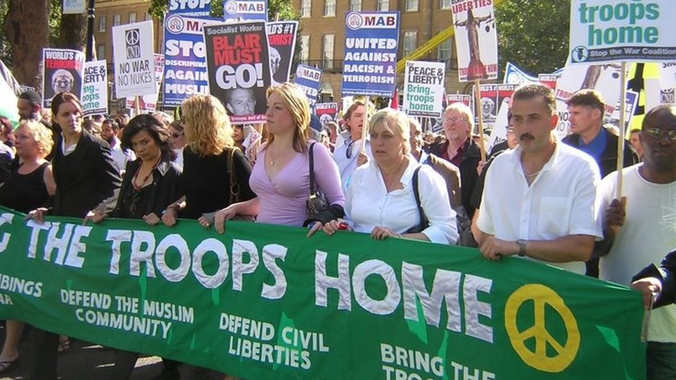 Sue Smith (pictured third from the right) at a Stop the War Coalition march in London in September 2005