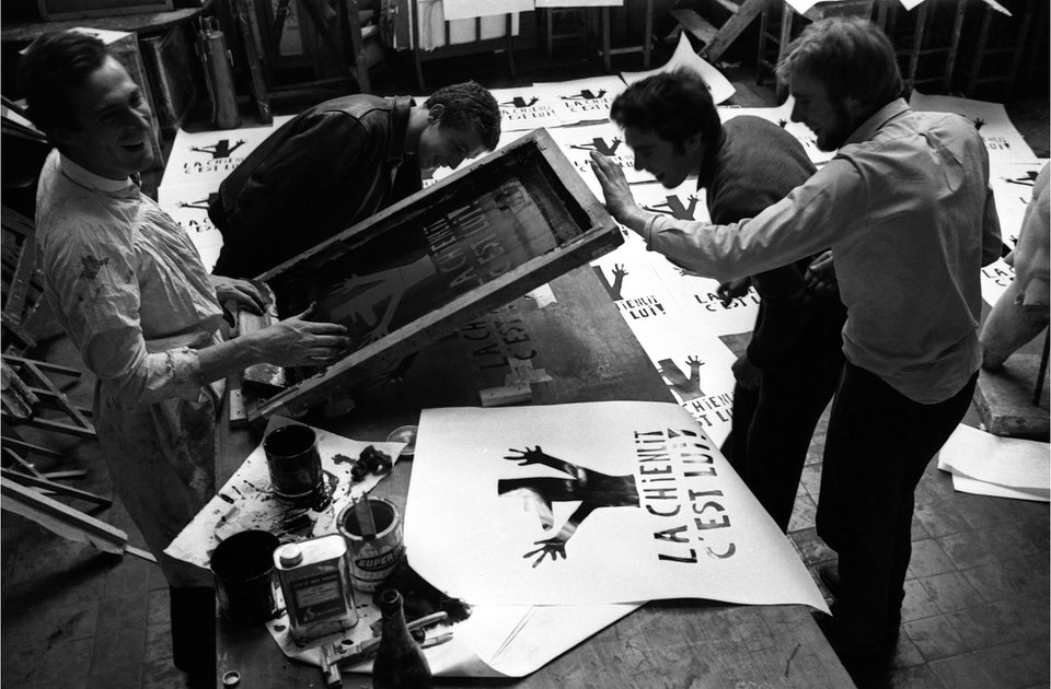 French students printing protest posters in 1968