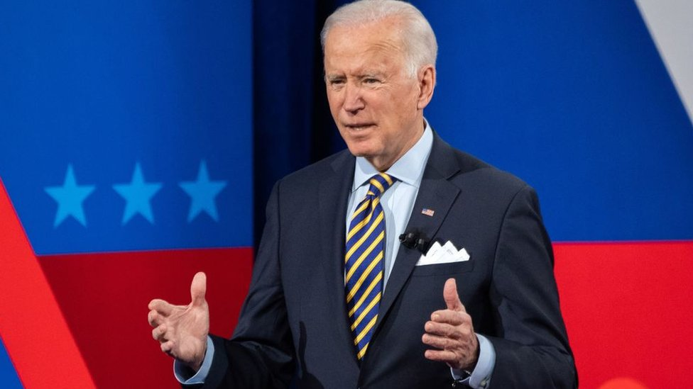 US President Joe Biden participates in a CNN town hall at the Pabst Theater in Milwaukee, Wisconsin, February 16, 2021