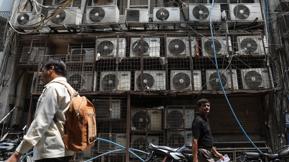 Multiple air conditioning units outside New Delhi office
