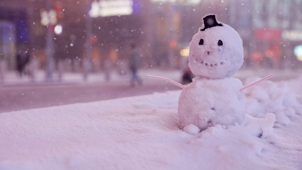 A snowman in Times Square