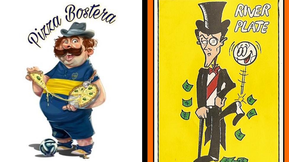 Caricaturas de Boca y River