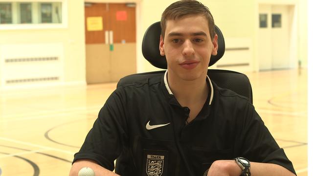 Nathan Mattick, England's first wheelchair using referee