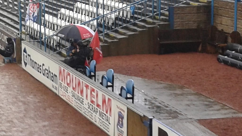 Disabled Morecambe fan has no shelter at Carlisle ground