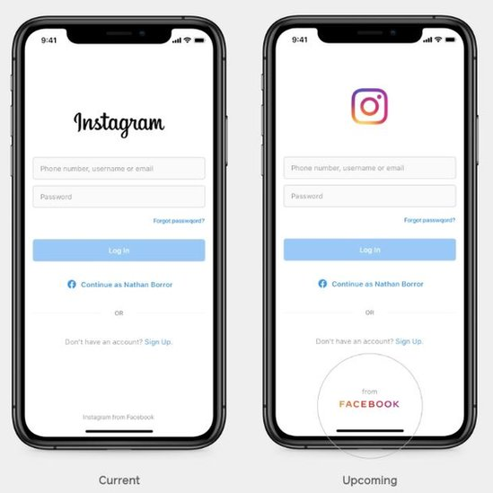 New Instagram branding on mobile phone screens