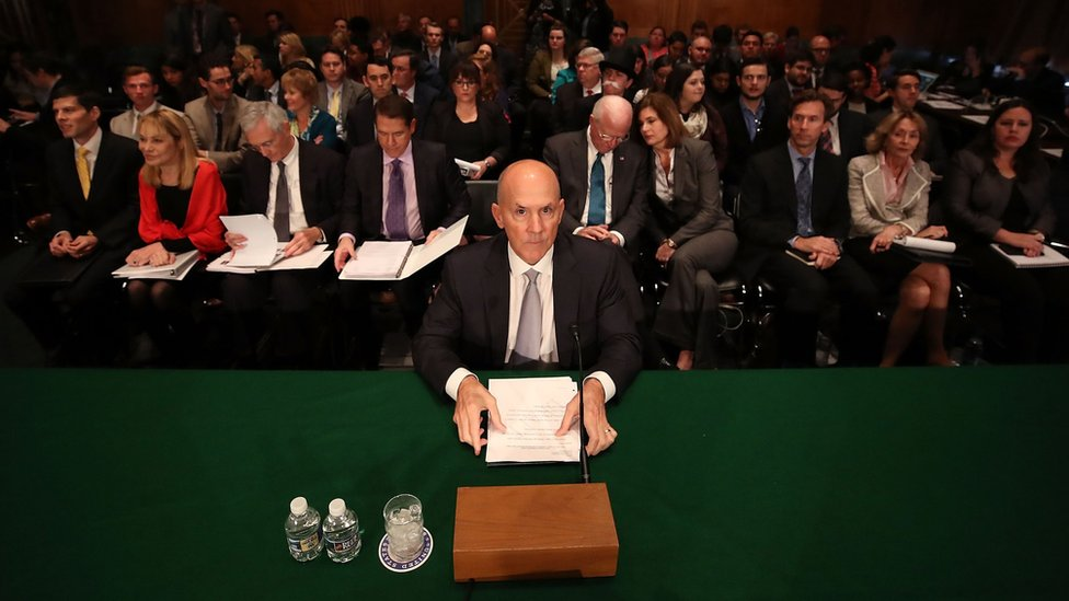 Former Equifax CEO Richard Smith prepares to testify before the Senate Banking, Housing and Urban Affairs Committee in the Hart Senate Office Building on Capitol Hill October 4, 2017 in Washington, DC.