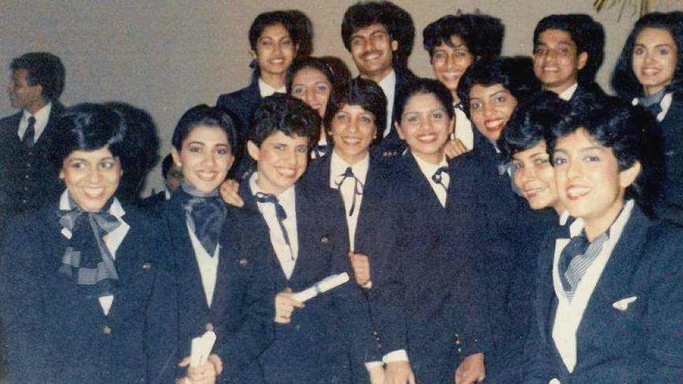 Some of the crew of Pan Am Flight 73, including Neerja Bhanot (top row far right), Sherene Pavan (bottom row, 4th from left), and Nupoor Abrol (top row, 3rd from right).