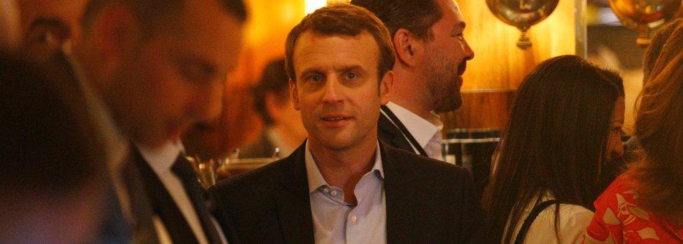 Emmanuel Macron in La Rotonde