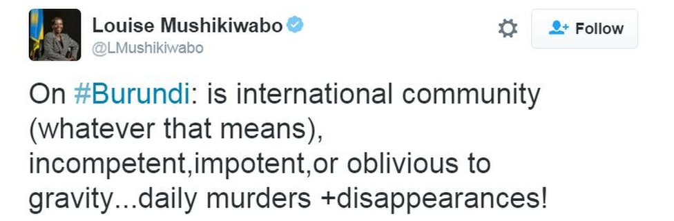 On #Burundi: is international community (whatever that means), incompetent,impotent,or oblivious to gravity...daily murders +disappearances!