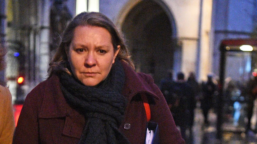 Anna Turley leaving the Royal Courts of Justice in London