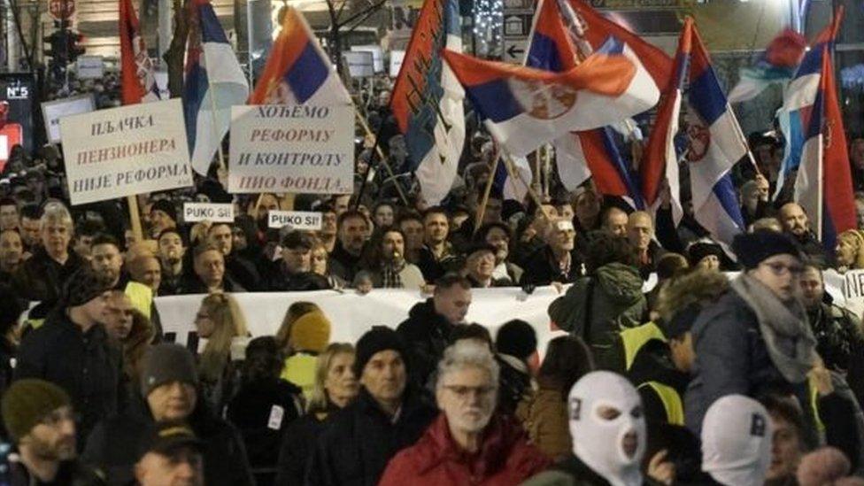 Masa, protest Jedan od pet miliona, Beograd, decembar 2019.