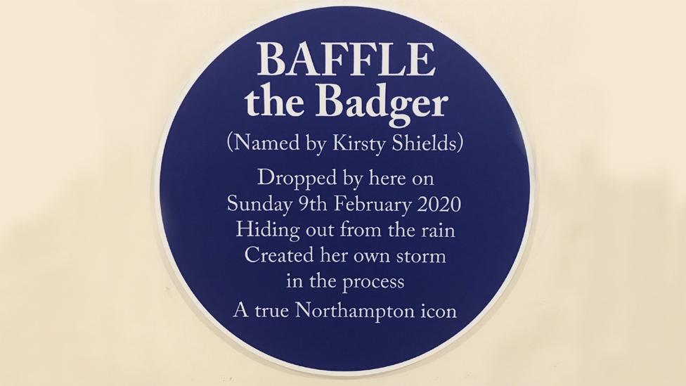 Baffle the Badger blue plaque