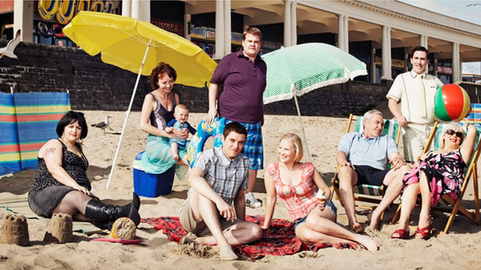 Cast of BBC TV's Gavin and Stacey on the beach at Barry Island