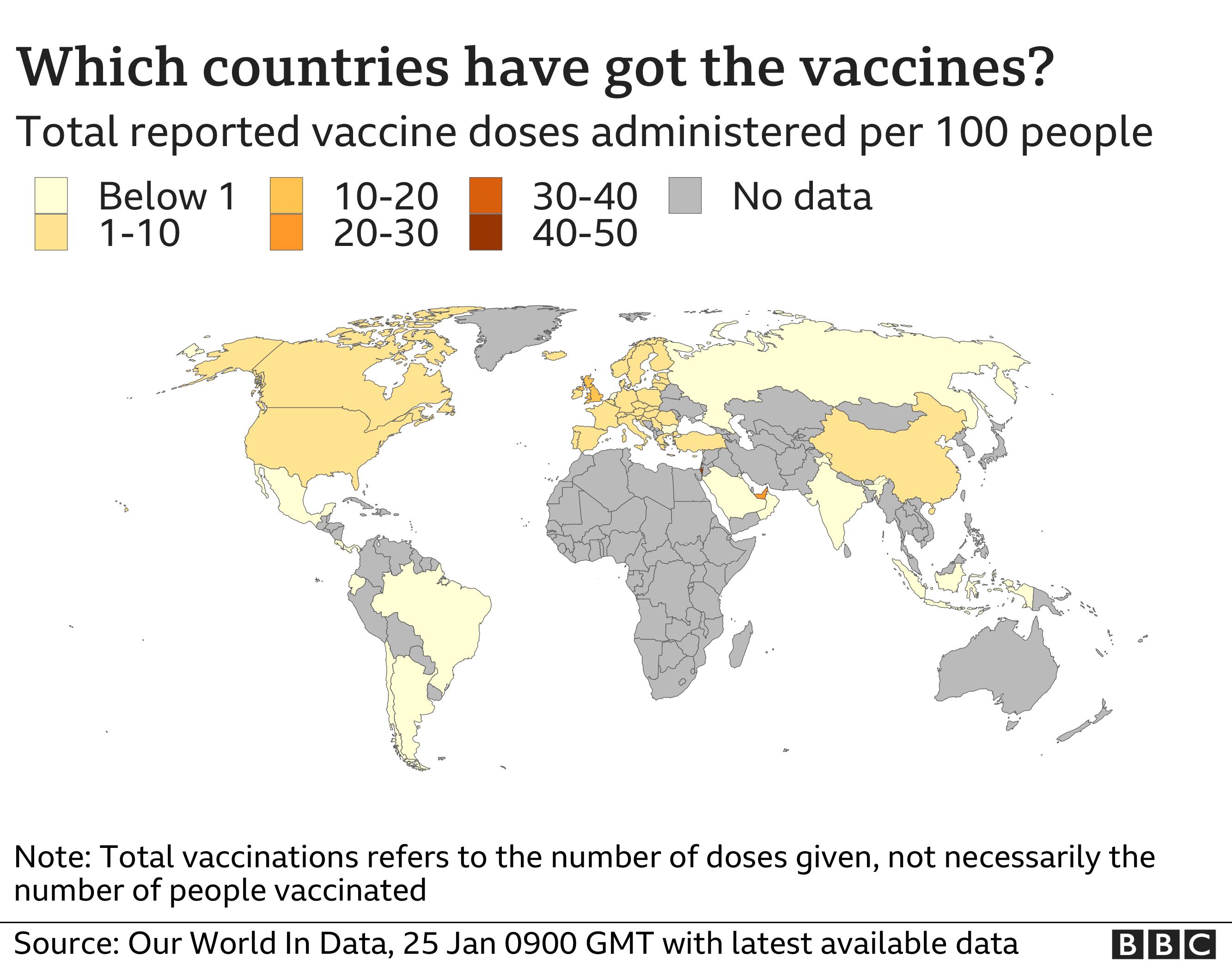 Peta vaksinasi dunia, data pada 25 Januari.