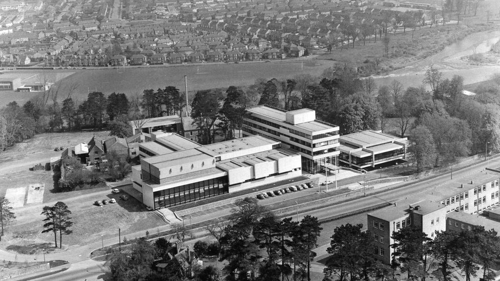 Aerial shot of Broadcasting House at Llandaff when it first opened