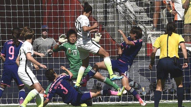 USA's Carli Lloyd scores two in three minutes