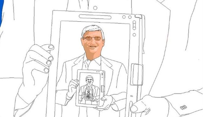 Picture of Bill Gates in progress - with much of it left unfilled by colour