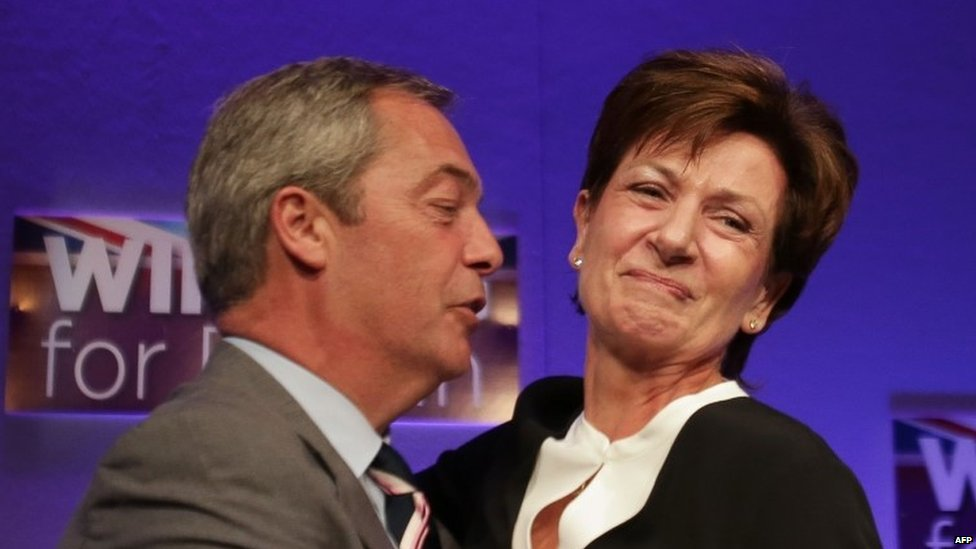 Nigel Farage greets Diane James after she is elected leader in 2016