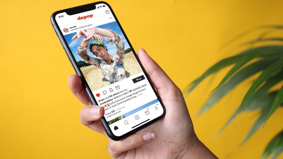 smart phone with Depop app open