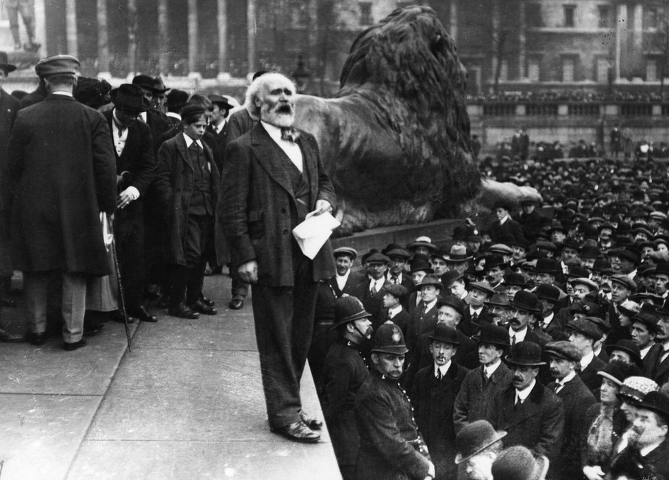 Keir Hardie (1856 - 1915), addressing the Suffragettes' Free Speech meeting in Trafalgar Square, London.