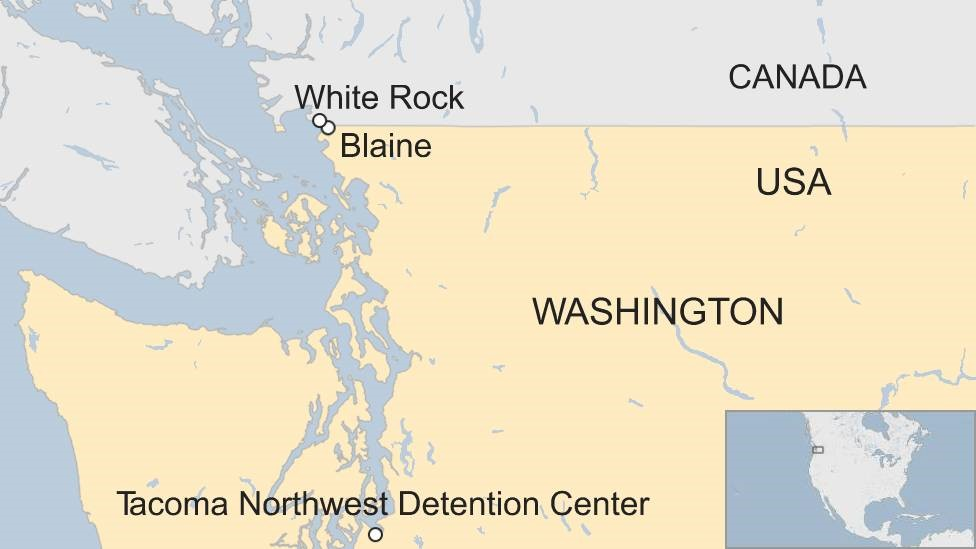 Map of the US-Canada border along the US state of Washington, highlighting White Rock in Canada, Blaine and Tacoma Northwest Detention Center in the US