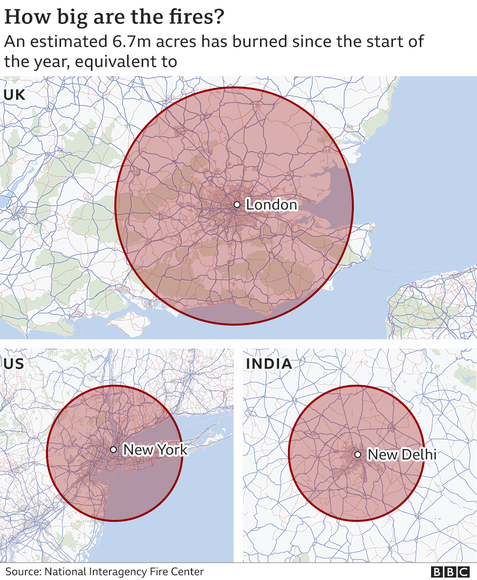 Map showing the size of US wildfires - over London, New York and New Delhi